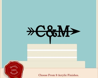 Small Monogram Arrow - Acrylic Personalised Cake Topper. Couples, Wedding, Initials, Anniversary