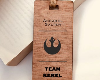 Personalised Star Wars Wooden Bookmark. Team Rebel Alliance with Name for Special Gift For Him/Her, Birthday, Christmas, Valentines.