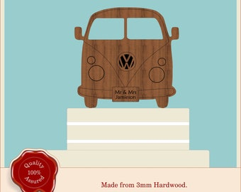 Campervan Camper Wooden Cake Topper, Weddings, Engagement, Rustic, Vintage Camper, Rustic Party Table Decoration