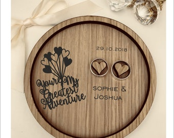 Personalised Wooden Wedding Ring Bearer Tray. Disney UP - You're My Greatest Adventure. Ideal Wedding Ring Dish, Plate or Holder.