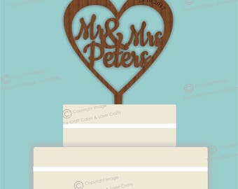 Heart Cut Out Names - Wooden Personalised Cake Topper. Vintage Weddings