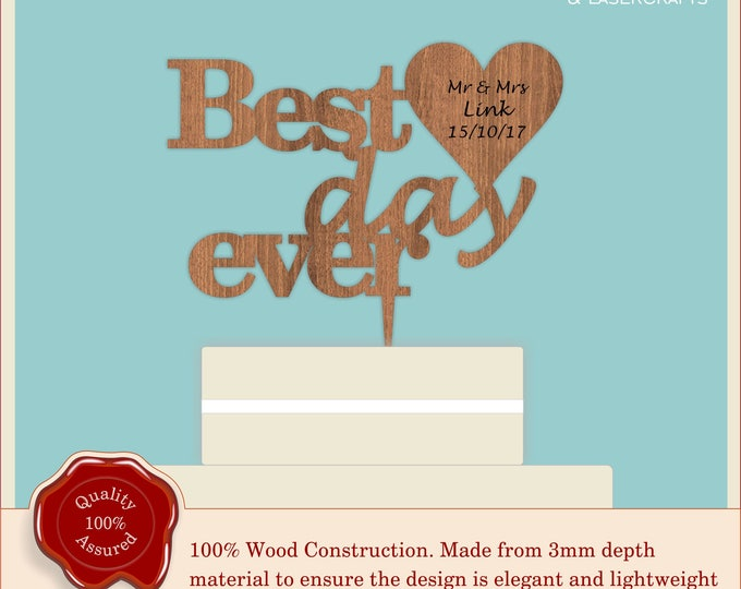Best Day Ever - Wooden Personalised Cake Topper. Vintage Weddings