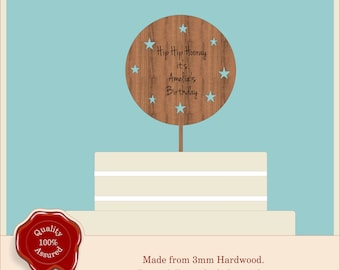 Round Personalised Birthday Cake Topper- Wooden Engraved Cake Topper. Ideal for Any Occasion - Birthday, Anniversary, Christmas.