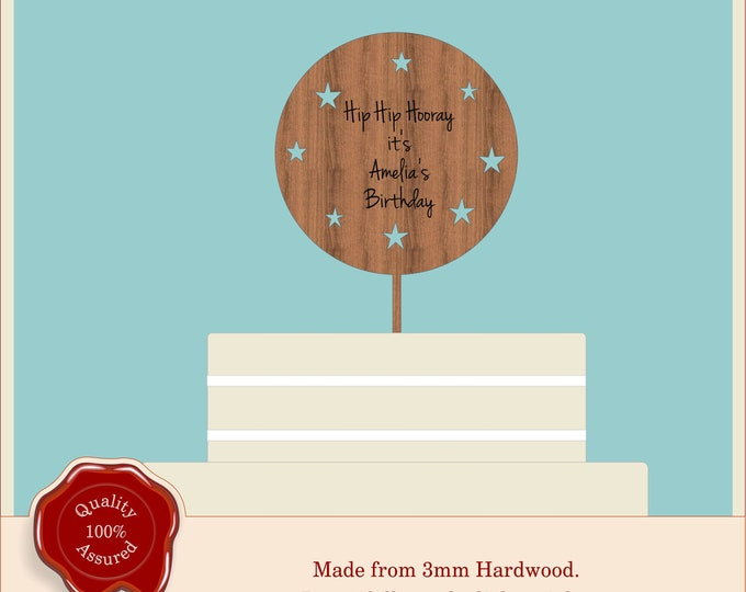 Round Engraved Birthday Cake Topper- Wooden Personalised Cake Topper. Vintage, Rustic, 1st Birthday, Half Birthday, Ant text engraved