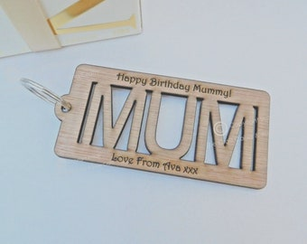 Personalised Mum Wooden Key Ring. Gift for Her. Ideal Custom Special Gift Engraved for Mother's Day, Birthday or Christmas.