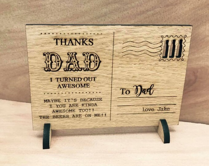 Wooden Personalised Engraved Post Card Style: Father's Day, Dad, Daddy, Grampy, Uncle. Birthday.