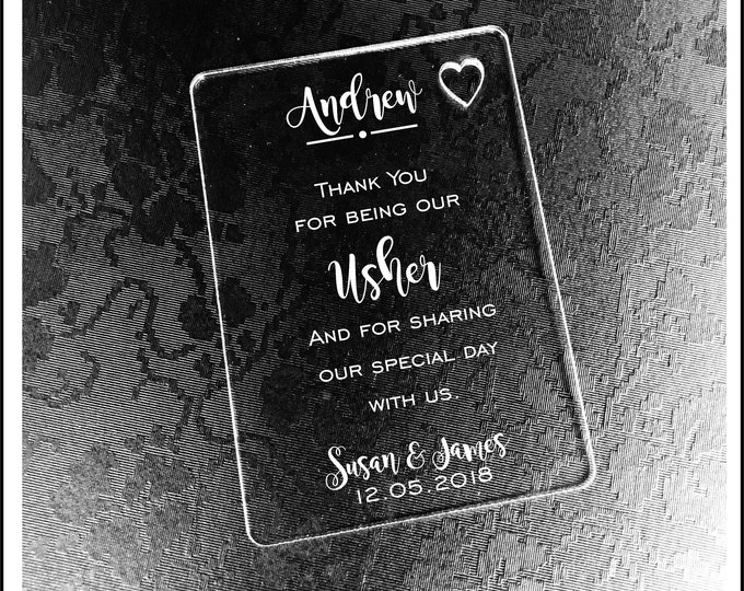 Personalised Usher Gift Wallet Card Keepsake. High Quality Engraved Acrylic, Gift from Bride, Groom, Couples, Thank You.