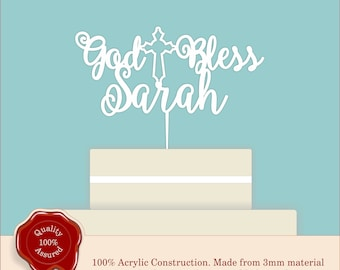 Christening, Baptism ''God Bless'' Personalised Cross Cake Topper, Couple, Engagement, Anniversary