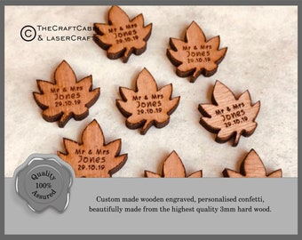 Personalised Wooden Mini Autumn Leaves Wedding Confetti, Mr & Mrs Table Decorations, Custom Made Rustic, Vintage, Earthy Wedding Decor