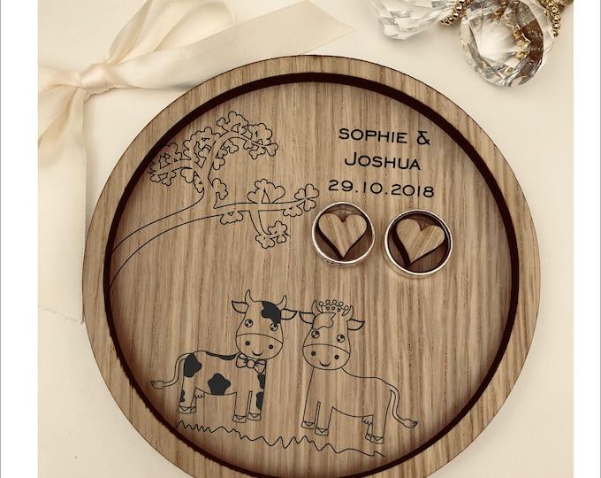 Wedding Ring Bearer Tray: Personalised Engraved Farmer, Cows & Bulls. Dish, Box, Gift, Farm, Vintage, Rustic, Weddings, Anniversary, Pillow