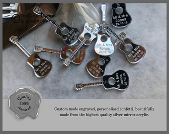 Personalised Acoustic Guitar Custom Confetti  Wedding Favours, Mr Mrs Table Decor Music lovers Party Table Decorations