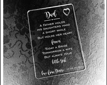 Personalised Dad Wedding Gift Wallet Card Keepsake. High Quality Engraved Acrylic, Gift from Bride, Groom, Couples, Thank You.