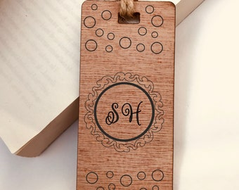 Personalised Engraved Wooden Bookmark - Monogram Initials. Custom Special Gift for Reader, Him or Her. Birthday Gift or Christmas Gift.