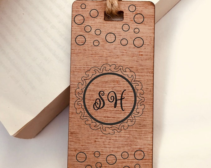 Personalised  Wooden Bookmark, Engraved Monogram Initials Circle Design, His Hers Gift, Reader, Custom, Birthday, Christmas, Vintage, Rustic