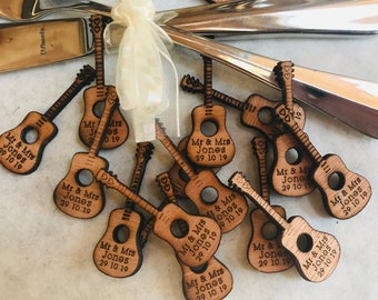 Personalised Wooden Acoustic Guitar. Wedding Favours, Table Confetti, Party Decorations. Vintage, Rustic, Retro.