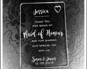 Personalised Maid of Honour Gift Wallet Card Keepsake. High Quality Engraved Acrylic, Gift from Bride, Groom, Couples, Thank You.