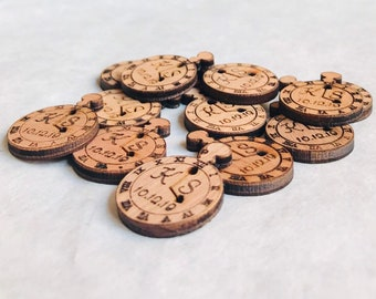 Personalised Wooden Stopwatch Table Confetti, Tea Party Decorations. Alice in Wonderland, Wedding Favours, Unique Designs