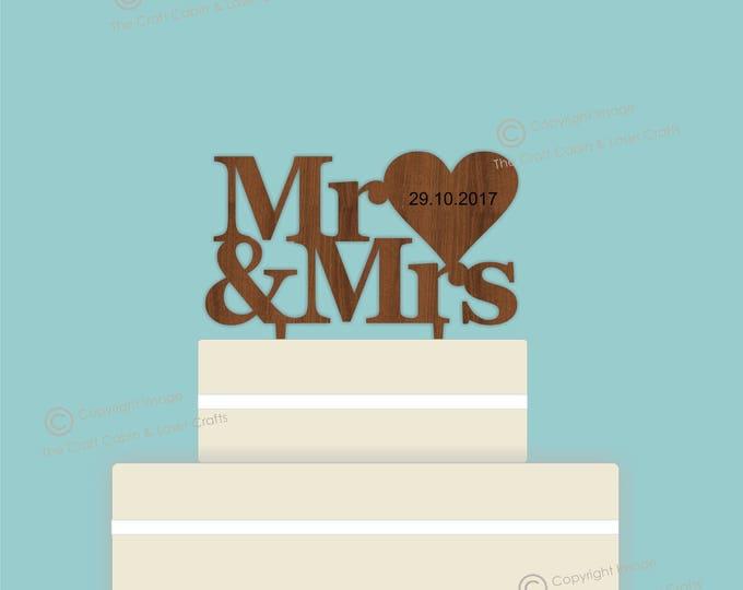Mr & Mrs - Wooden Personalised Cake Topper. Vintage Weddings