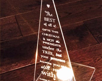 Memorial Candle Holder - Personalised Engraved Remembrance. In Memory of Christmas Tree. Home Decoration for Family Loss, Loved One or Pet.