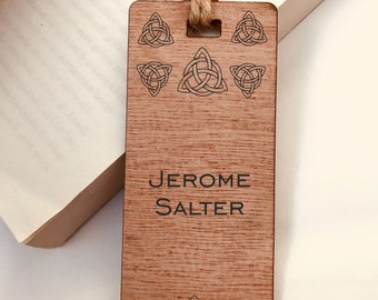 Personalised Engraved Wooden Bookmark, Celtic Triangle Design, His or Hers Gift, Reader, Custom Made, Birthday, Christmas, Vintage, Rustic