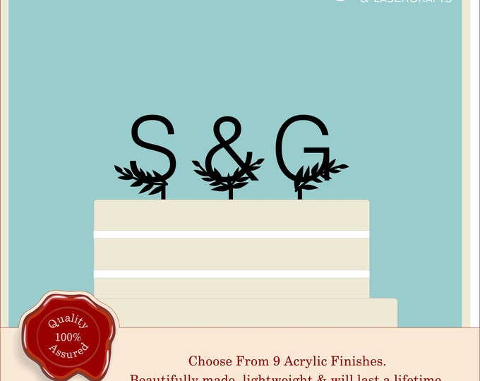 Personalised Monogram Initial leaves Wedding Cake Topper Customized Party Decoration Couples Acrylic Modern Custom Design