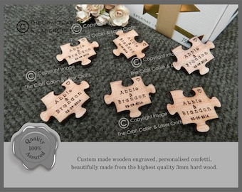 Personalised Wooden Puzzle Pieces, Jigsaw Shapes Wedding Favours, Table Confetti, Party Decorations. Fit together
