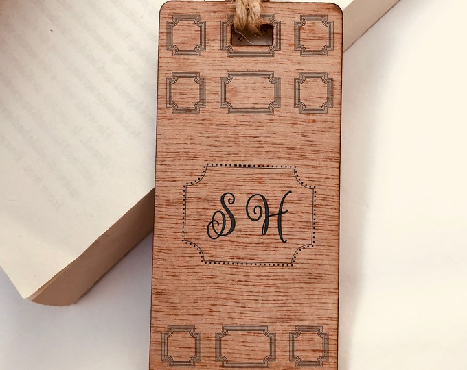 Engraved Monogram Initials Retro Design Wooden Bookmark, Personalised, His Hers Gift, Reader, Custom, Birthday, Christmas, Vintage, Rustic