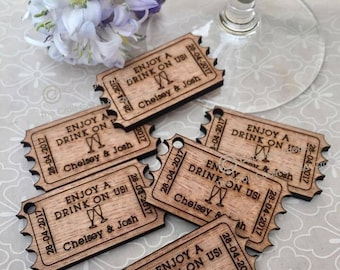 Personalised Wooden Old Fashioned Drink Ticket Tokens. Wedding Favours, Table Confetti, Party Decorations. Vintage, Rustic, Retro.