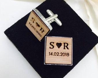 Personalised Engraved Square Monogram Wooden Cufflinks. Groom, Groomsmen, Gift, Vintage, Rustic, Weddings, Anniversary