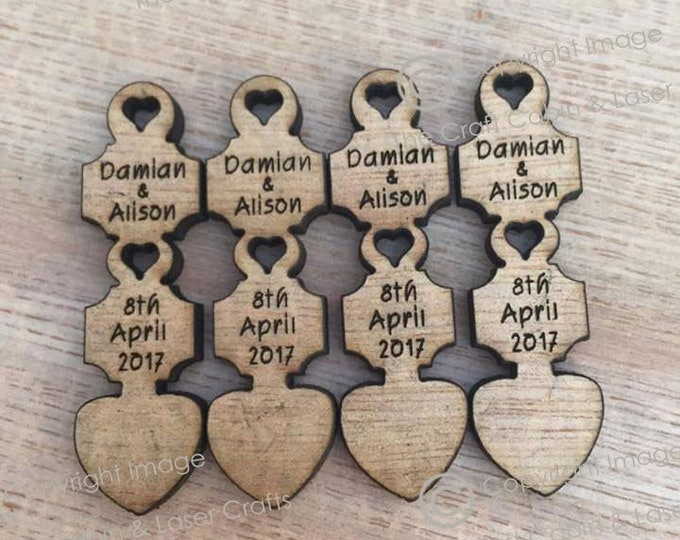 Personalised Wooden Mini Love Spoons, Favours, Table Decor, Vintage Wedding