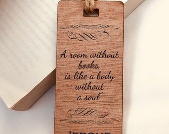 A Room Without Books Quote Wooden Bookmark, Personalised, Engraved, Family Gift, Reader, Custom, Birthday, Christmas, Vintage, Rustic