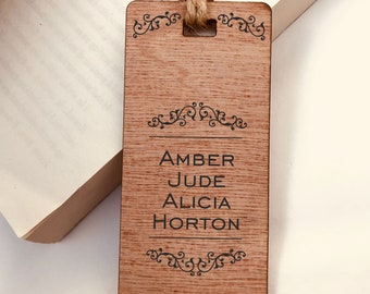 Engraved Traditional Scroll Design Wooden Bookmark, Personalised, His Hers Gift, Reader, Custom, Birthday, Christmas, Vintage, Rustic