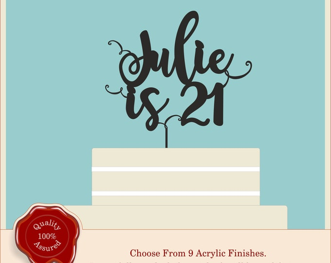 Script Age Cake Topper - Happy Special Personalised  Birthday Cake Topper - Acrylic, Modern, Swirly 18th, 21st, 30th, 40th, 50th - any age