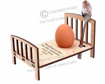 Personalised Easter Egg Cup Holder/Tray - Egg in a Bed. Custom Wooden Special Gift for Boy or Girl. Also Ideal for Mother's Day or Birthday