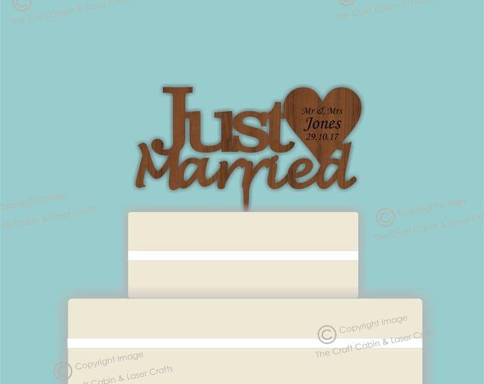Just Married - Wooden Personalised Cake Topper. Vintage Weddings
