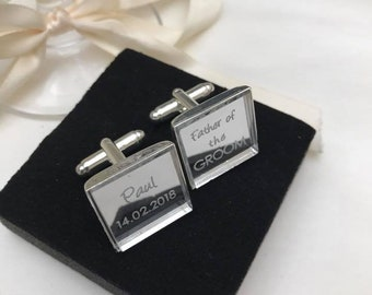 Custom Personalised Cufflinks - Engraved Modern Square Silver Mirror. Great Special Gift for Groom, Groomsmen at Weddings.Wedding accessory.