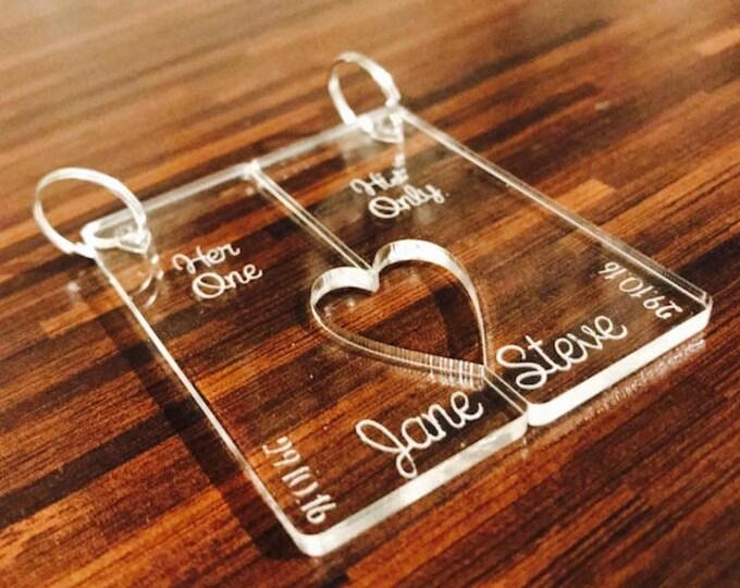 Personalised Key ring set. Mr & Mrs, His Hers, Couples, Partner, Boyfriend, Girlfriend, Lover, Valentines Day. Wedding, Anniversary Gift