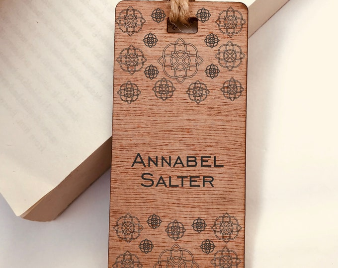 Personalised  Wooden Bookmark,Engraved  Celtic Flower Design, His or Hers Gift, Reader, Custom Made, Birthday, Christmas, Vintage, Rustic