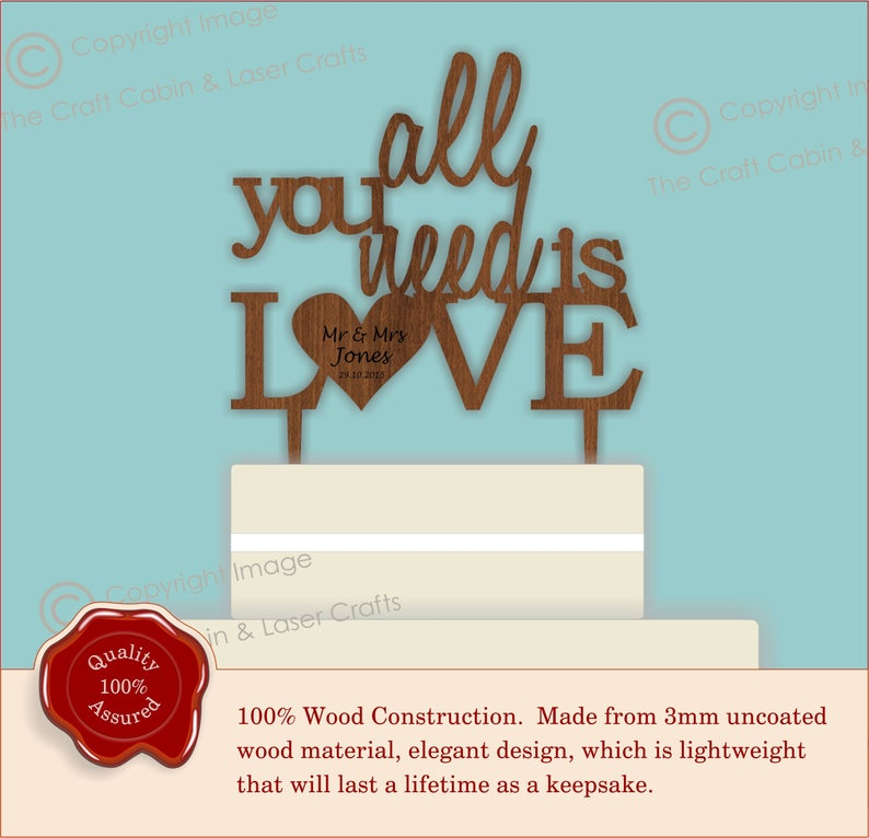 All you need is LOVE - Wooden Wedding Cake Topper  Mr Mrs, His Hers,  Personalised Couples Names, Vintage Rustic Cake Decoration, Table Decor