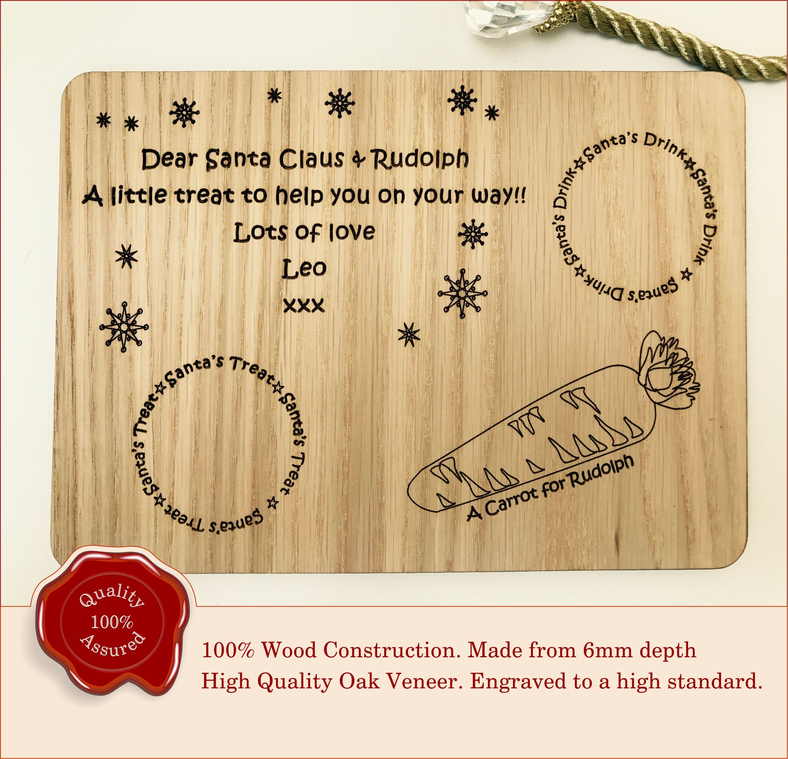 Personalised Kids Christmas Eve Santa Treat Wooden Tray Chopping