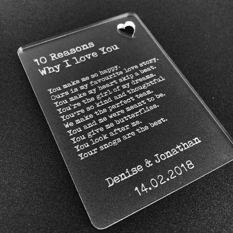 Personalised 10 Reasons Why I Love You Wallet Card Insert Valentines Gift  Mr & Mrs, His Hers, Couples, Boyfriend, Girlfriend, Lover