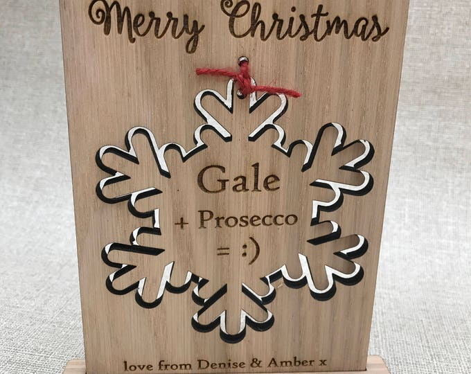 Wooden Christmas Card & Drinks Coaster Freestanding Gift, Birthday, Personalised Engraved, Christmas Ornament, Snowflake, Prosecco, Wine