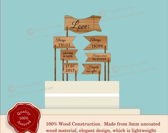 Rustic Personalised ''Love'' Wedding Flags Cake Topper, 7 Flag Quotes