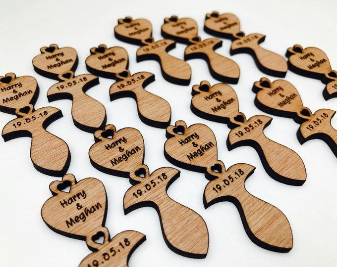 Personalised Traditional Welsh Style Mini Love-Spoons, Favours, Table Decor, Vintage Rustic Weddings