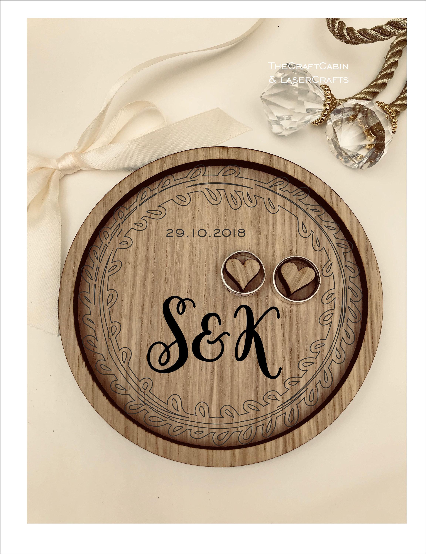 Wedding Ring Bearer Tray Personalised Engraved Monogram