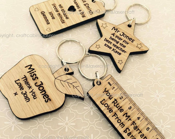 Personalised Keyrings School Leaver, Teacher Gift, End of year Gift, Student, Pupil Gift, Wooden Key ring - Apple, Ruler, Star, Dog-Tag etc