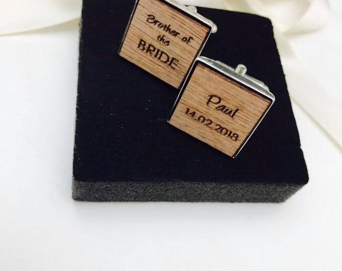 Personalised Engraved Square Wooden Cufflinks. Groom, Groomsmen, Gift, Vintage, Rustic, Weddings, Anniversary