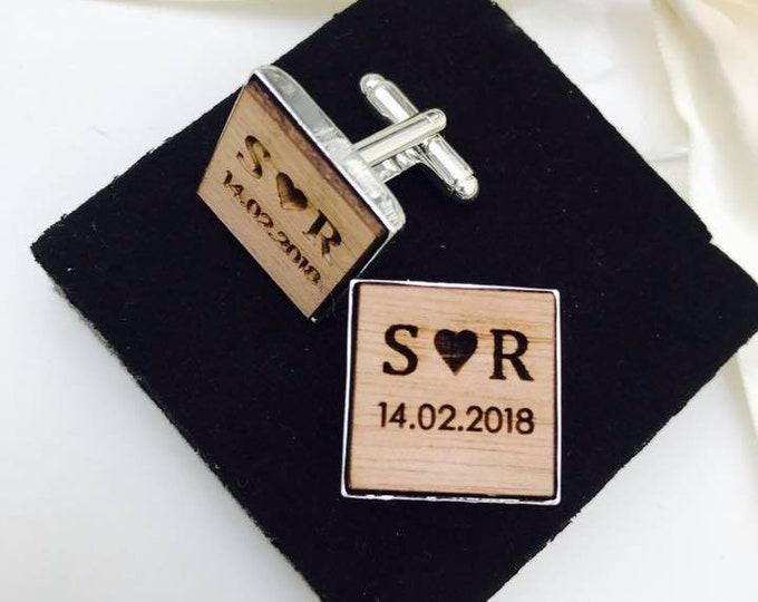 Personalised Engraved Square Monogram Wooden Cufflinks. Groom, Groomsmen, Gift, Vintage, Rustic, Weddings, Anniversary