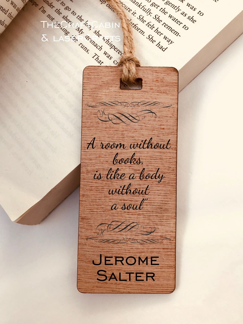 Personalised Engraved Wooden Bookmark Quote A Room Without Books  Ideal  Christmas, Birthday, Valentine's, Family Gift  Great For Book Lover