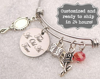 c3df624cf Beauty and The Beast Tale As Old As Time Bracelet, Disney Belle Inspired  Bangle, Custom Name Charm Bangle Bracelet